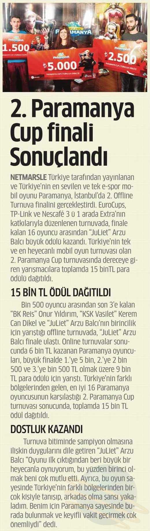 """Star Ege Gazetesi'nde """"Paramanya Cup Finali Ödül Sahiplerini Buldu"""" haberi"""