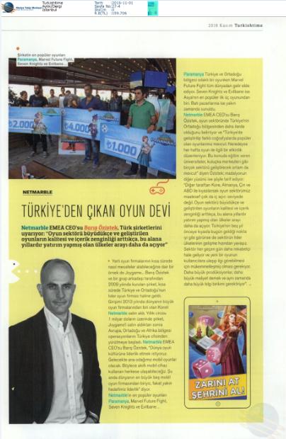"""Turkish Time Dergisi'nde """"Türkiye'den Çıkan Oyun Devi"""" haberi"""