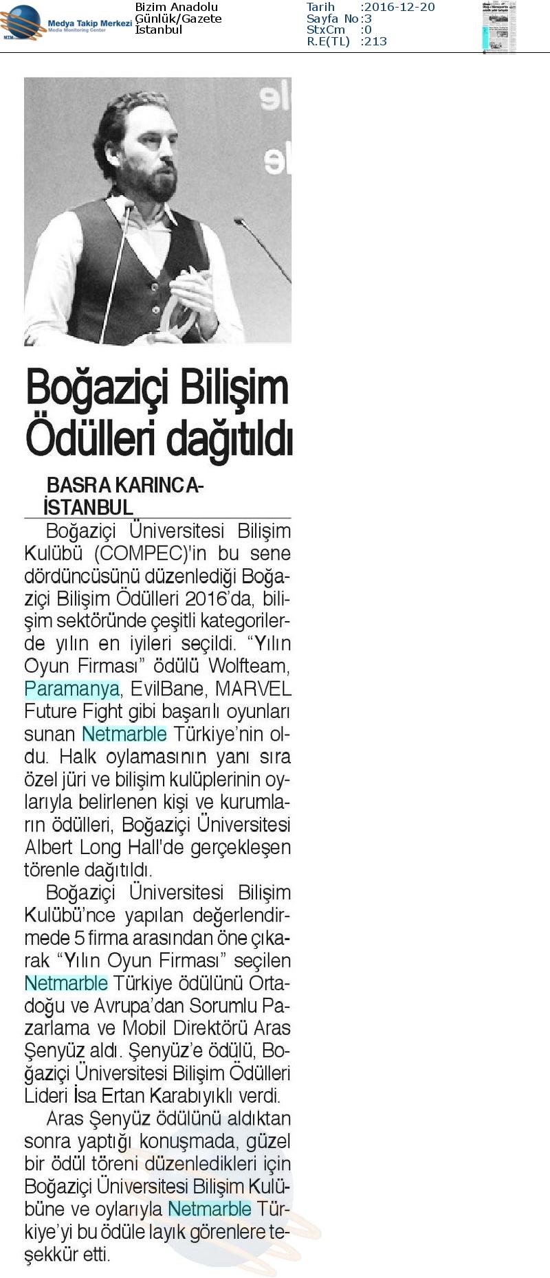 Bizim Anadolu Gazetesi'nde Boğaziçi Bilişim Ödüllerini Dağıttı