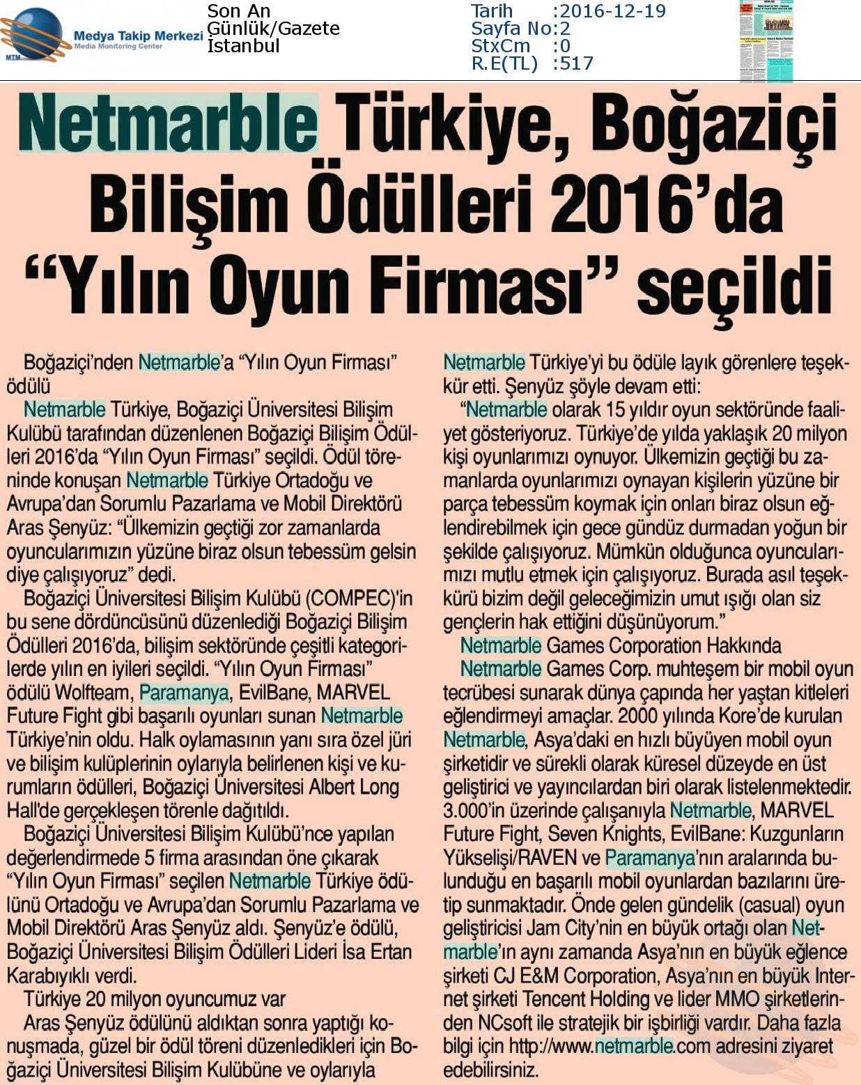 """Son An Gazetesi'nde Netmarble Türkiye Boğaziçi Bilişim Ödülleri 2016'da """"Yılın Oyun Firması"""" seçildi"""