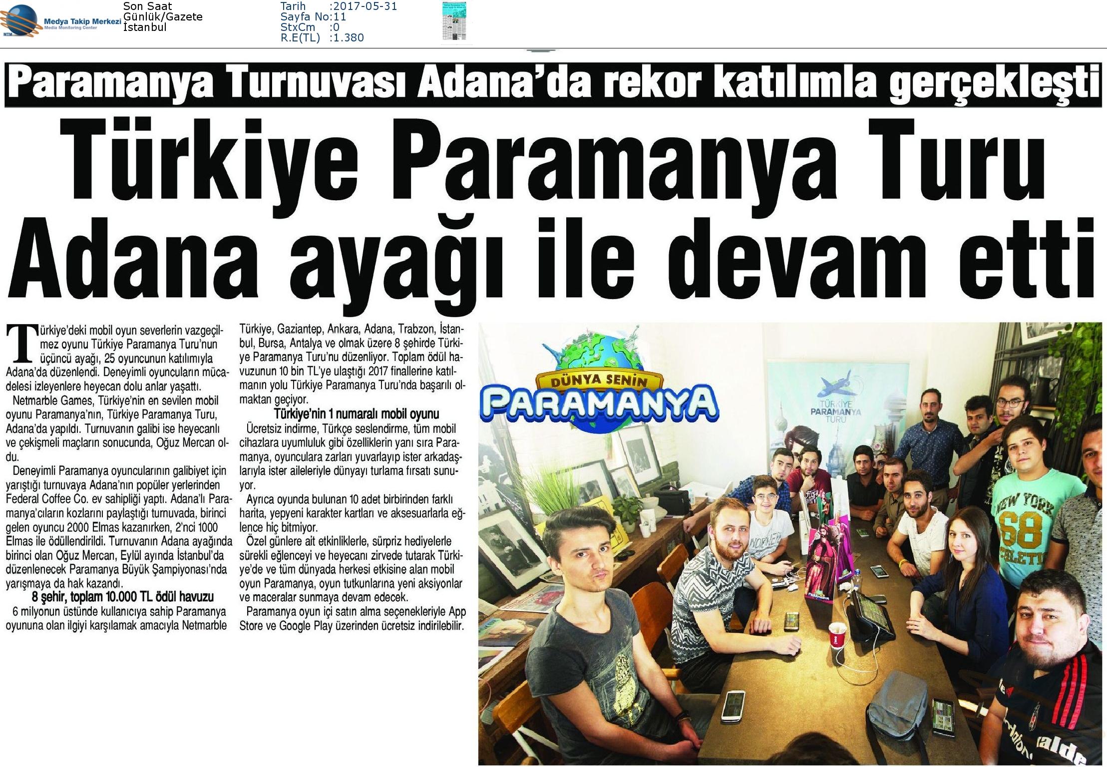 Son_Saat-TÜRKİYE_PARAMANYA_TURU_ADANA_AYAĞI_İLE_DEVAM_ETTİ-31.05.2017