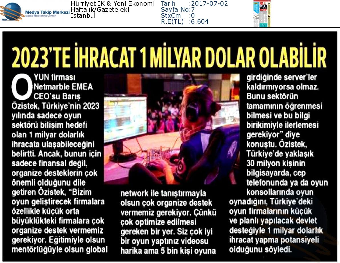 Hürriyet_İK__Yeni_Ekonomi-2023_TE_İHRACAT_1_MİLYAR_DOLAR_OLABİLİR-02.07.2017