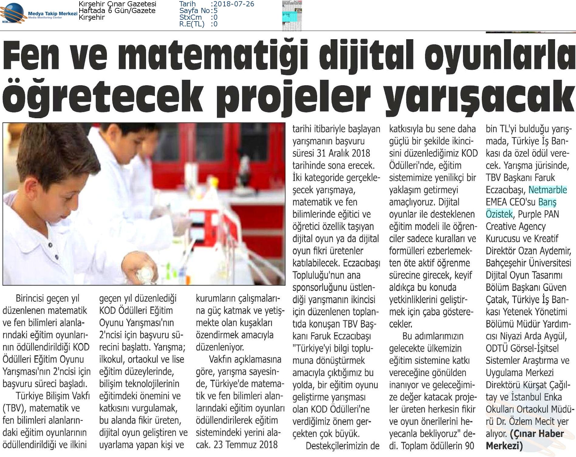 Kırşehir_Çınar_Gazetesi-FEN_VE_MATEMATİĞİ_DİJİTAL_OYUNLARLA_ÖĞRETECEK_PROJELER_YARIŞACAK-26.07.2018