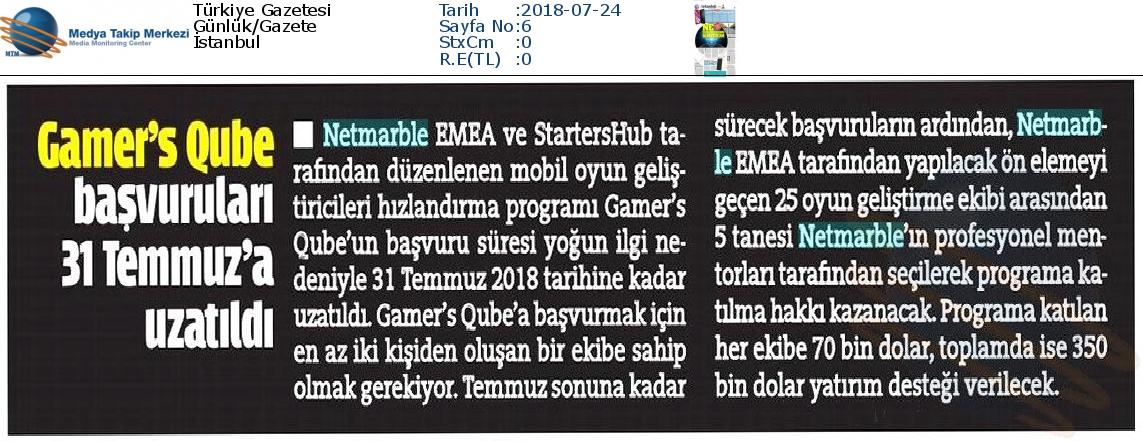 Türkiye_Gazetesi-GAMERS_QUBE_BAÞVURULARI_31_TEMMUZA_UZATILDI-24.07.2018